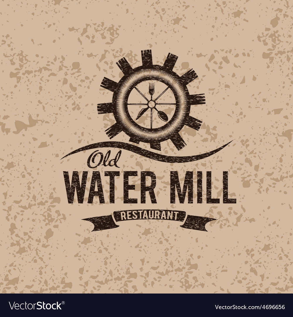 Old water mill restaurant concept design template vector | Price: 1 Credit (USD $1)
