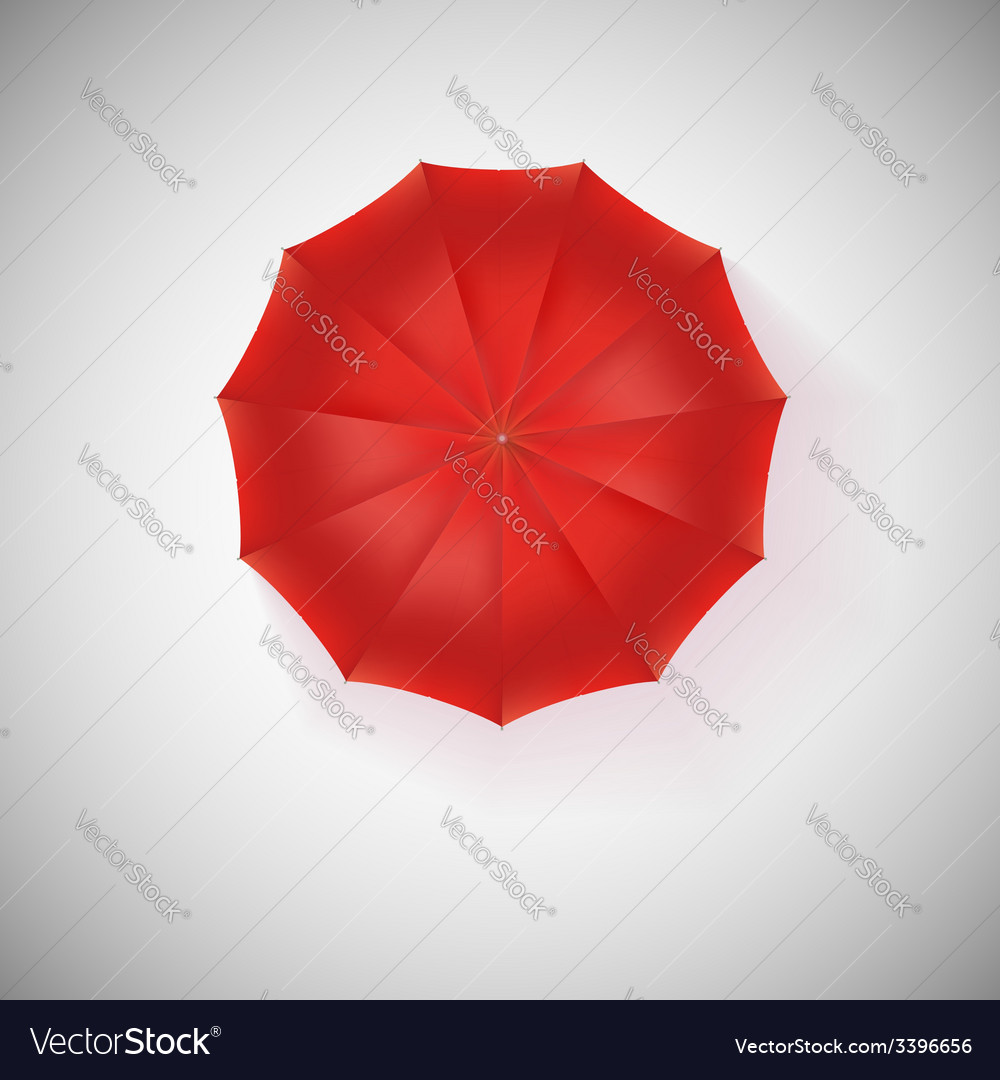 Opened red umbrella top view closeup vector | Price: 1 Credit (USD $1)