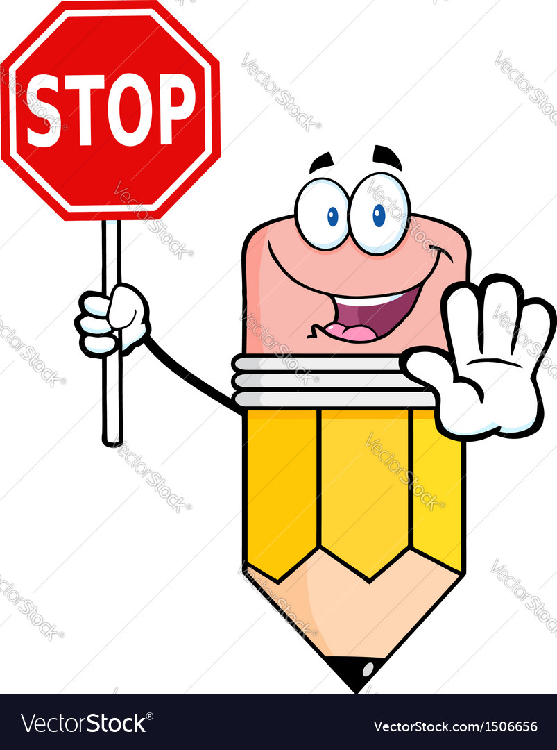 Pencil cartoon character holding a stop sign vector | Price: 1 Credit (USD $1)