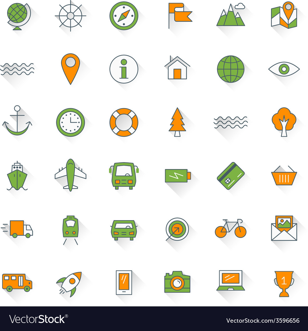 Travel and transportation flat design icon set map vector | Price: 1 Credit (USD $1)