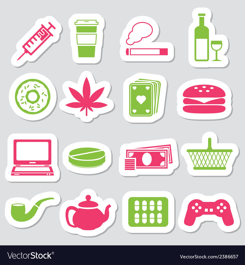 Addiction stickers vector | Price: 1 Credit (USD $1)