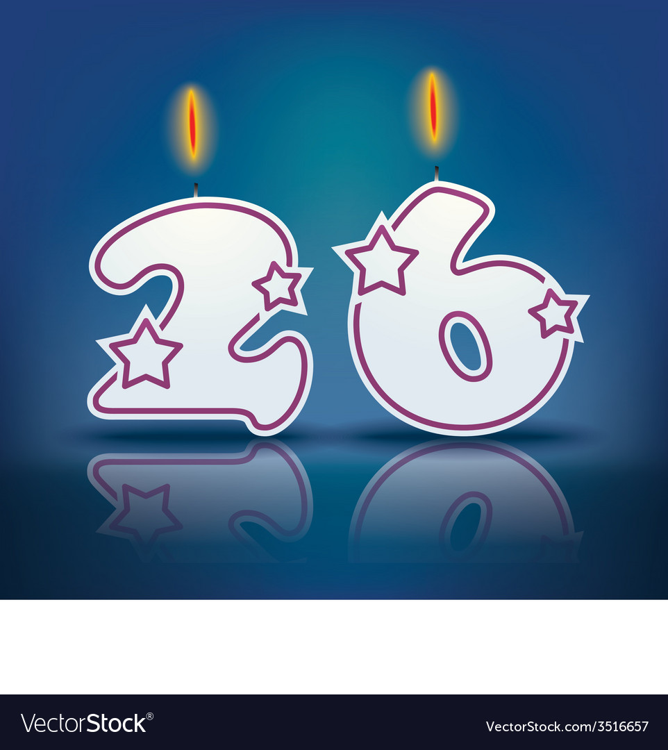 Birthday candle number 26 vector | Price: 1 Credit (USD $1)