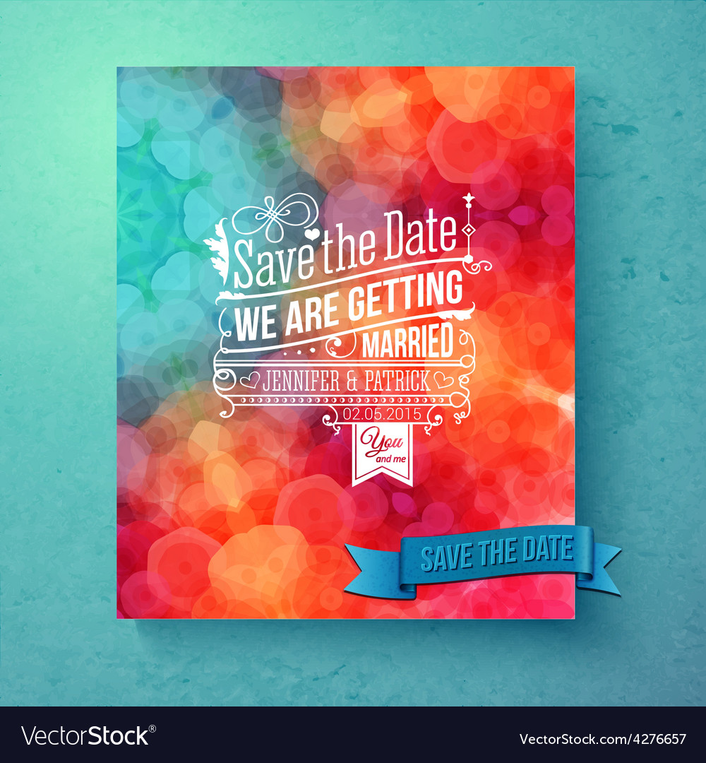 Dynamic vibrant save the date wedding invitation vector | Price: 1 Credit (USD $1)