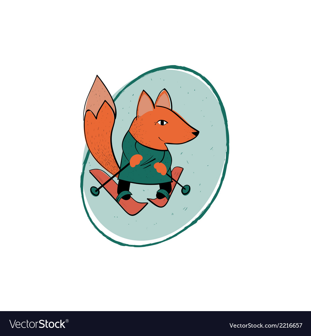 Fox skiing vector | Price: 1 Credit (USD $1)