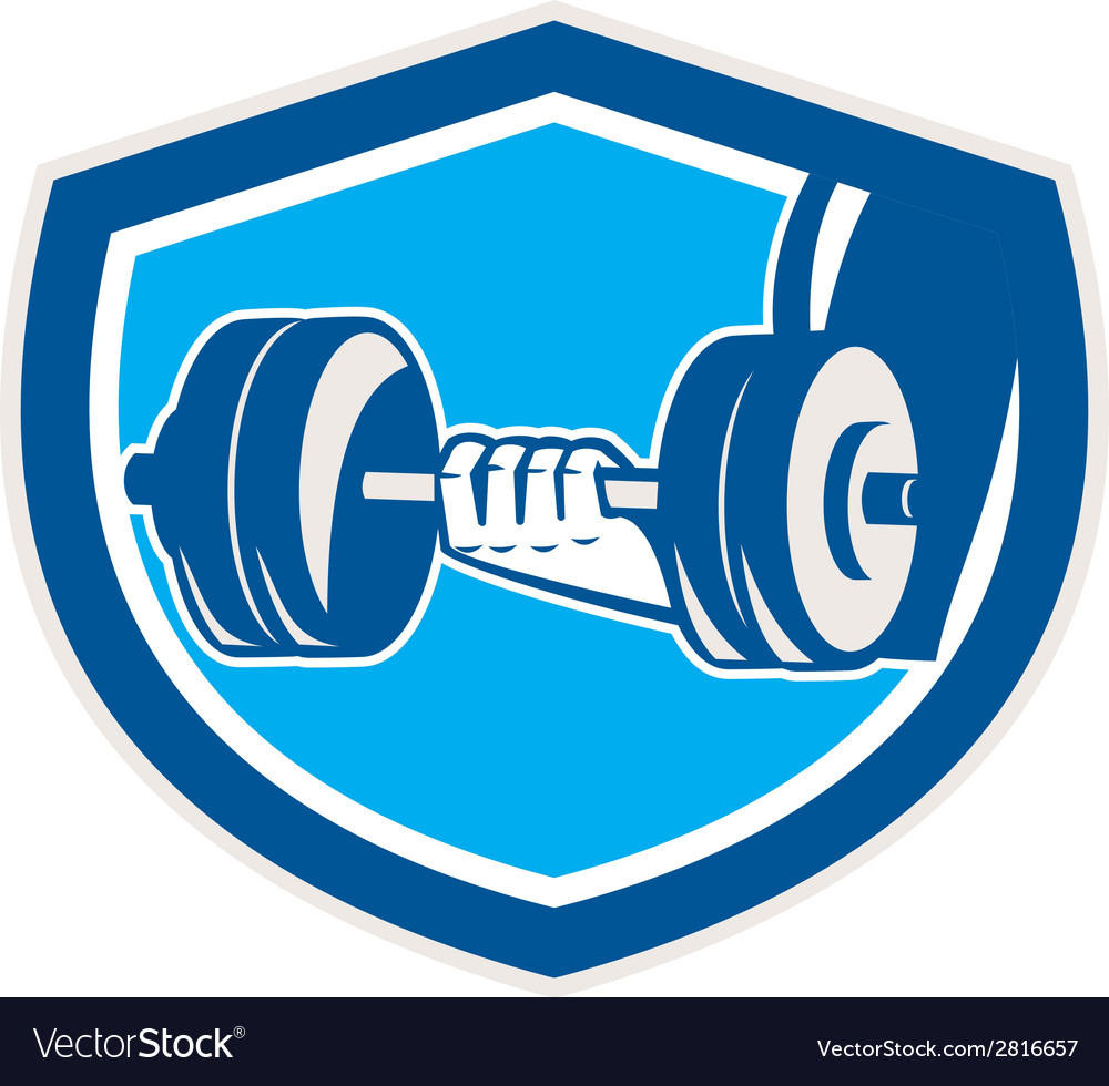 Hand lifting dumbbell shield retro vector | Price: 1 Credit (USD $1)