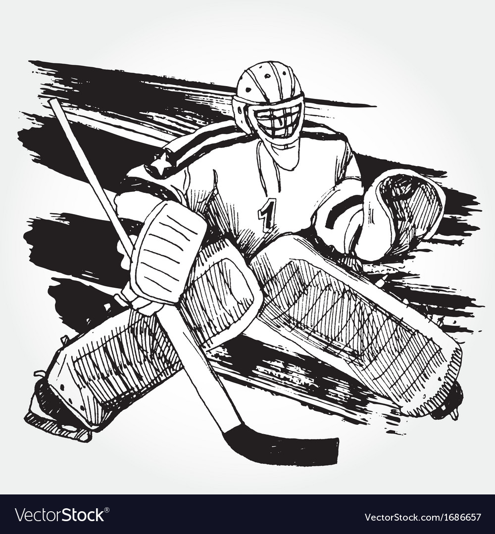 Hockey player2 vector | Price: 1 Credit (USD $1)
