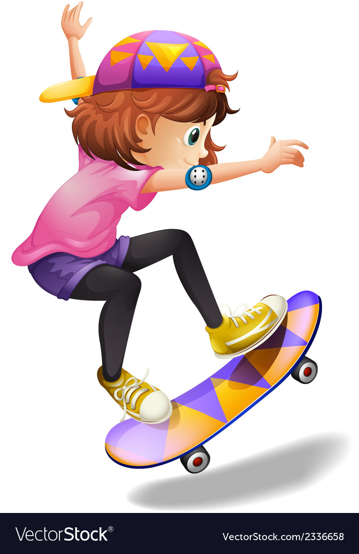 An energetic young woman skateboarding vector | Price: 1 Credit (USD $1)
