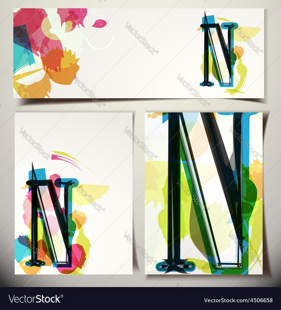 Artistic greeting card letter n vector | Price: 1 Credit (USD $1)