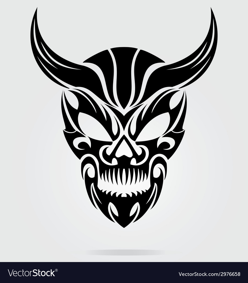 Demon head tribal vector | Price: 1 Credit (USD $1)