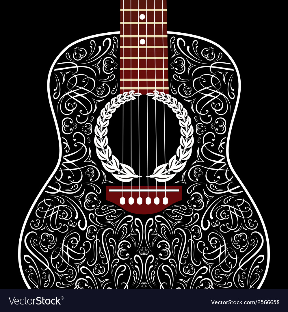 Grungy background with black acoustic guitar vector | Price: 1 Credit (USD $1)
