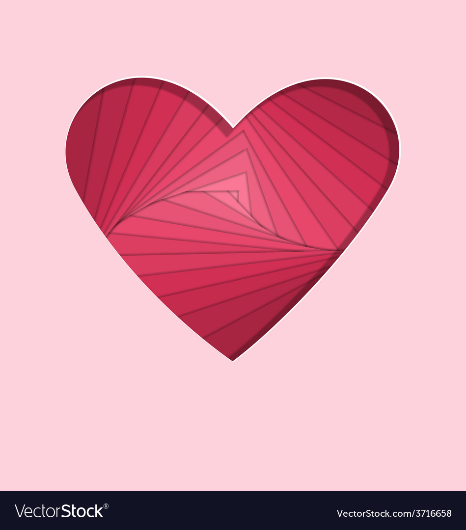Hand-made paper folding heart isolated on pink vector | Price: 1 Credit (USD $1)