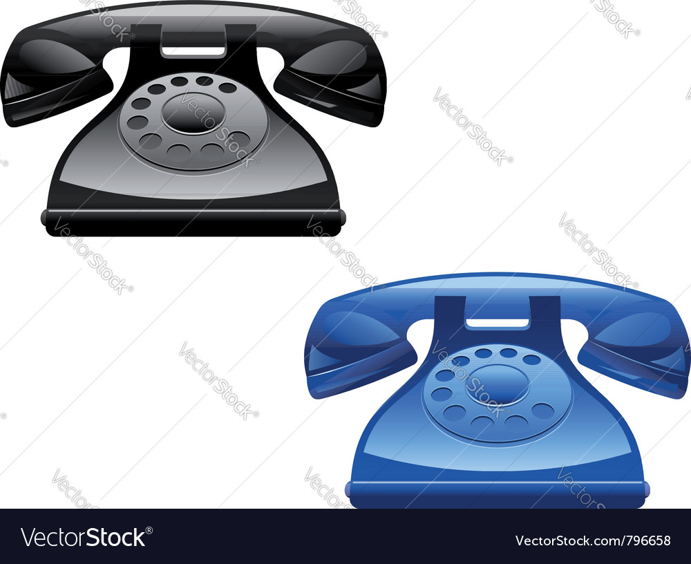 Retro glossy telephone icons vector | Price: 1 Credit (USD $1)