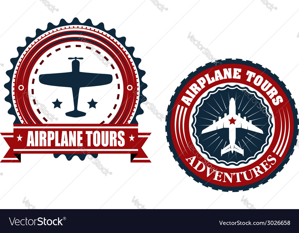 Round airplane tours banners vector | Price: 1 Credit (USD $1)