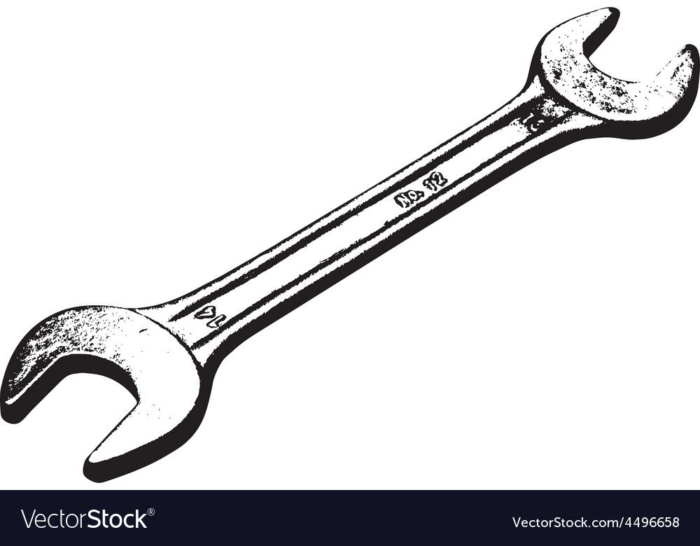 Steel wrench lies on a white background vector | Price: 1 Credit (USD $1)