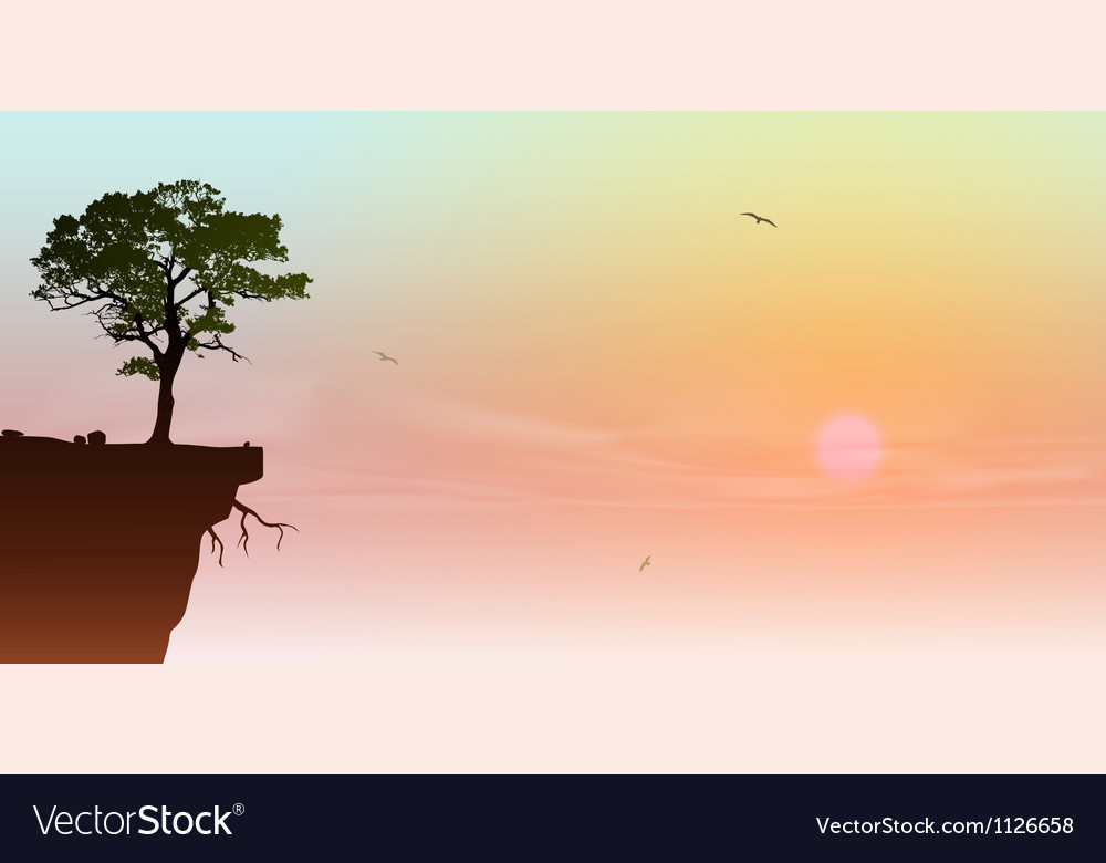 Tree on a cliff vector | Price: 1 Credit (USD $1)