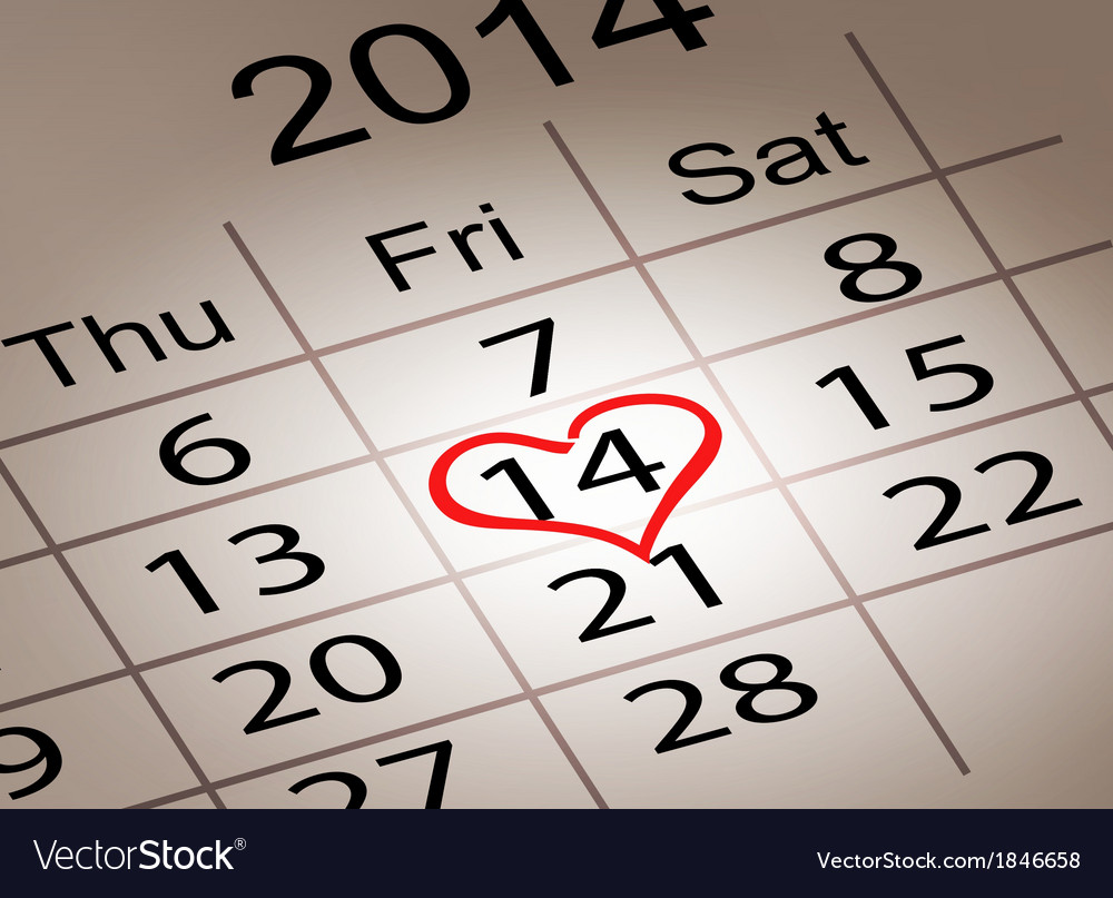Valentines day calendar february 14 of saint vector | Price: 1 Credit (USD $1)