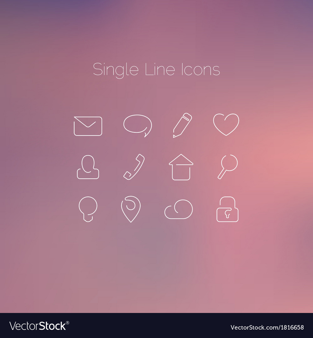 Various icons set drawn with single line vector | Price: 1 Credit (USD $1)