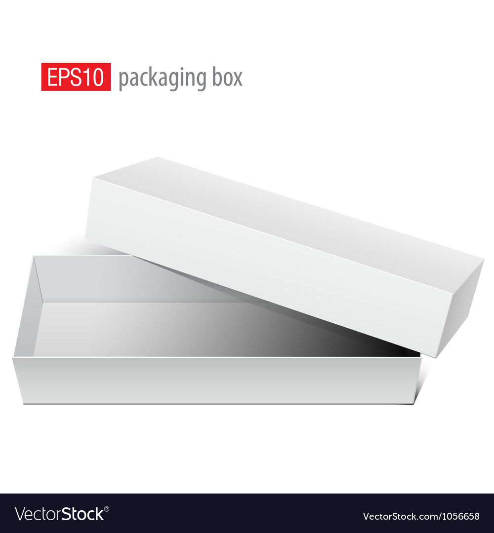 White blank box opened with the cover removed vector | Price: 1 Credit (USD $1)