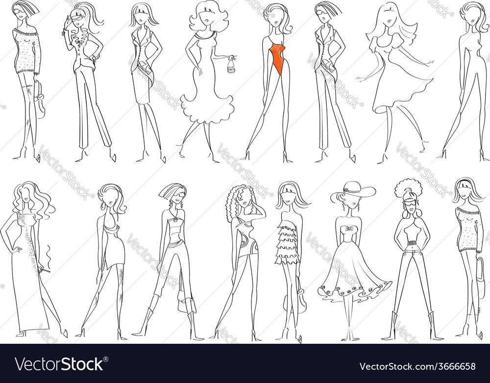 Women in fashion clothes isolated on white vector | Price: 1 Credit (USD $1)