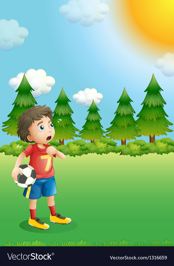 A young football player at the hill vector | Price: 1 Credit (USD $1)
