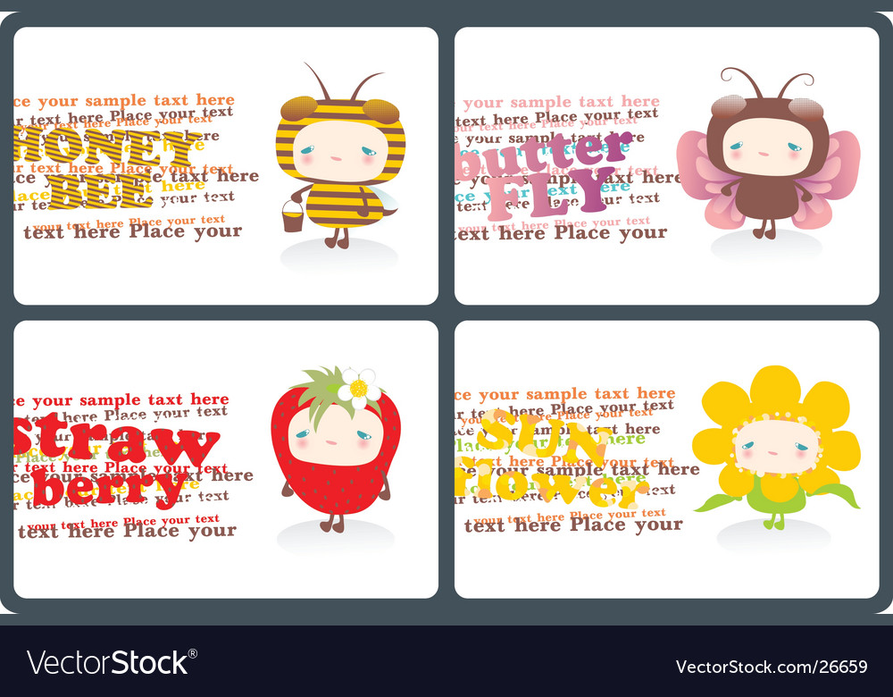 Childish horizontal business cards vector | Price: 3 Credit (USD $3)