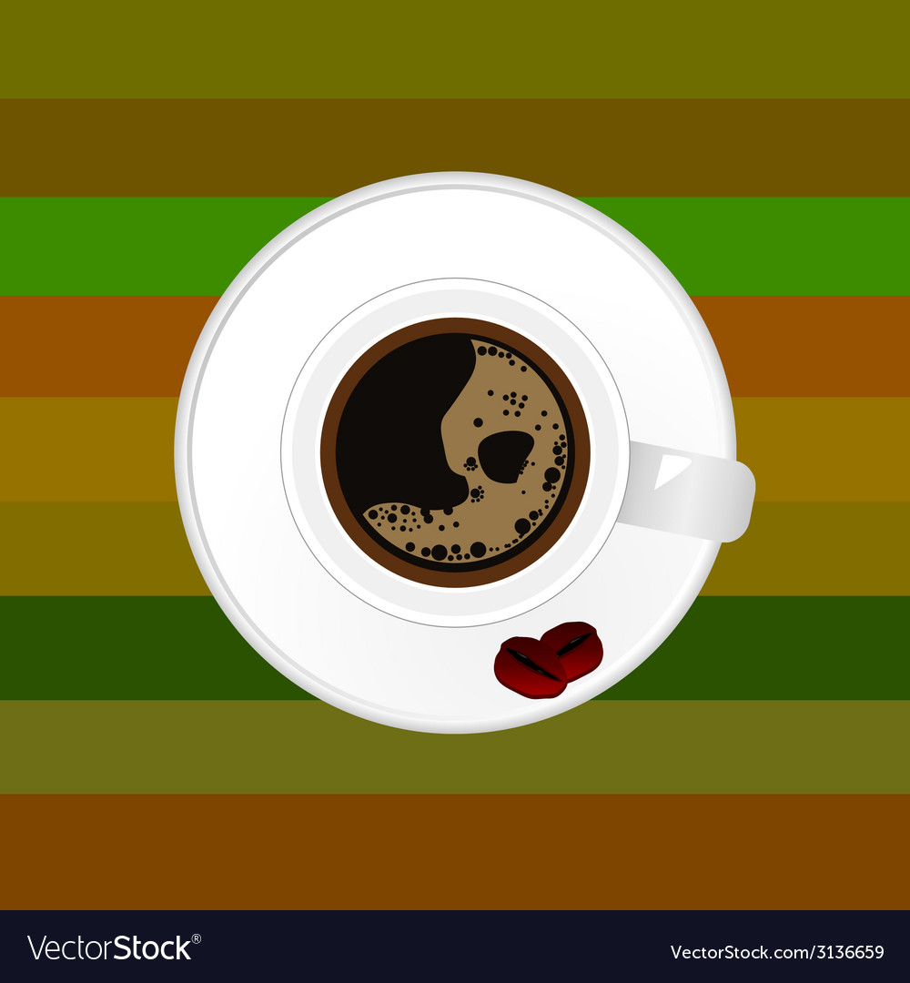 Cup of coffee with two bean vector | Price: 1 Credit (USD $1)