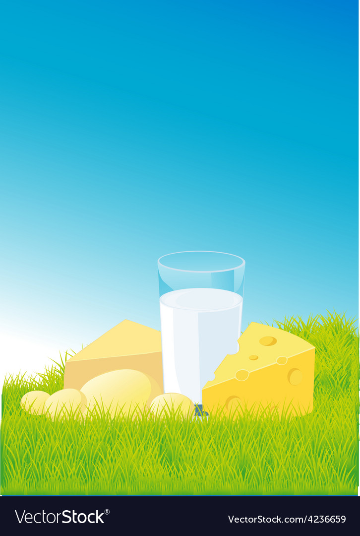 Dairy products lying on green grass - vector | Price: 1 Credit (USD $1)