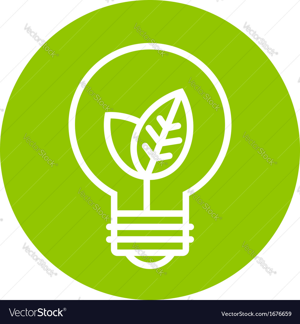 Ecology light bulb icon in green circle vector | Price: 1 Credit (USD $1)