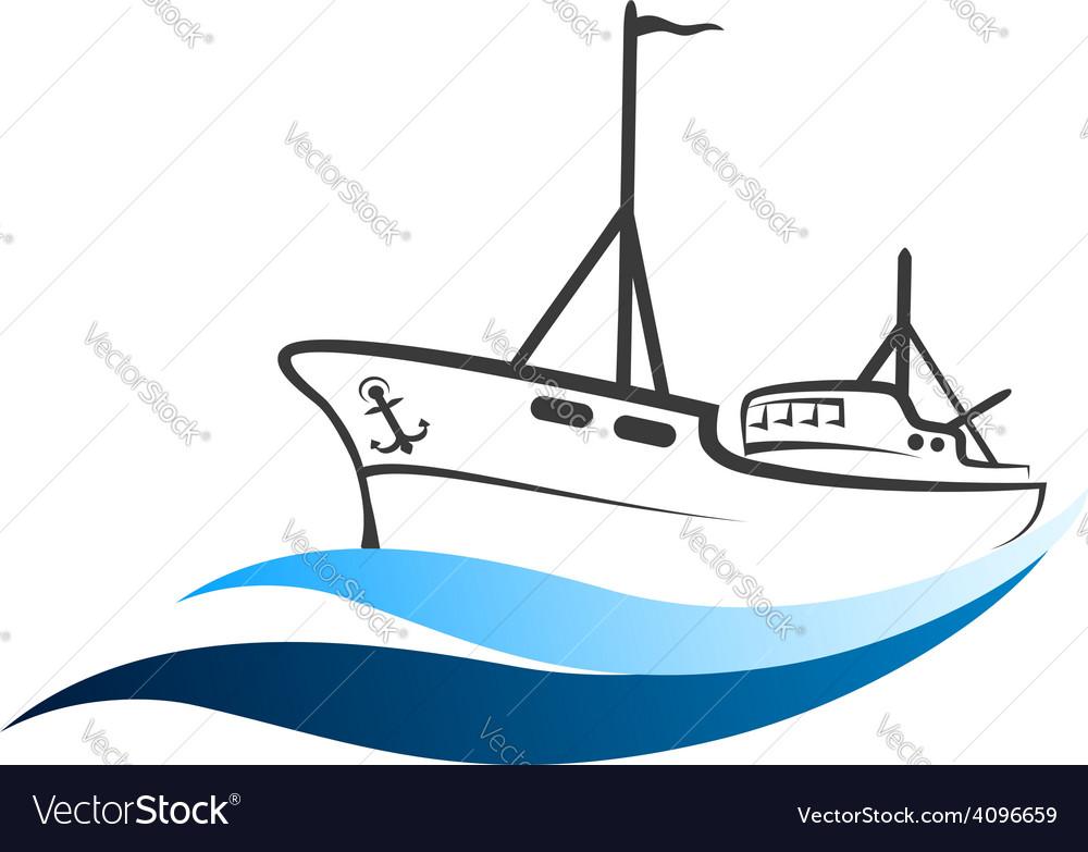 Fishing boat vector | Price: 1 Credit (USD $1)
