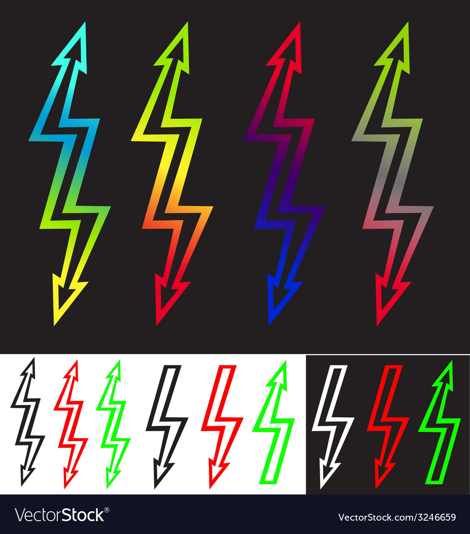 Iridescent sign double-ended arrow lightning vector | Price: 1 Credit (USD $1)