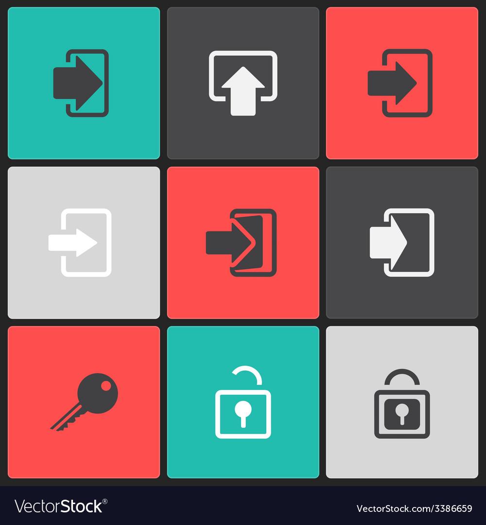 Login web icon set on a color square vector   Price: 1 Credit (USD $1)