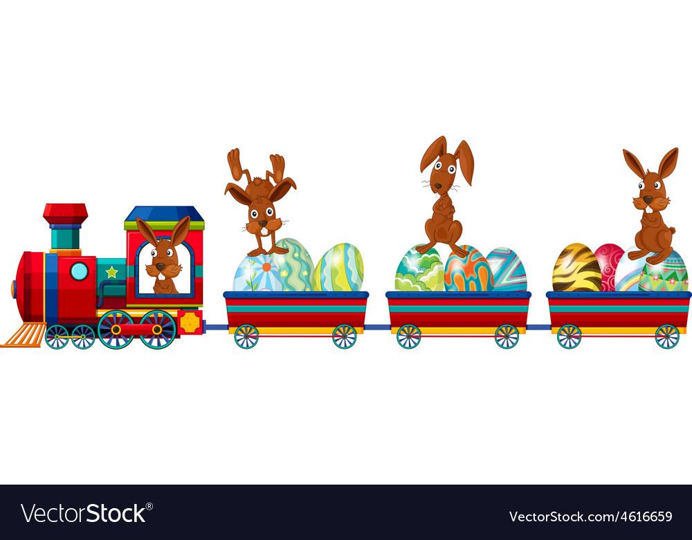 Rabbit and train vector