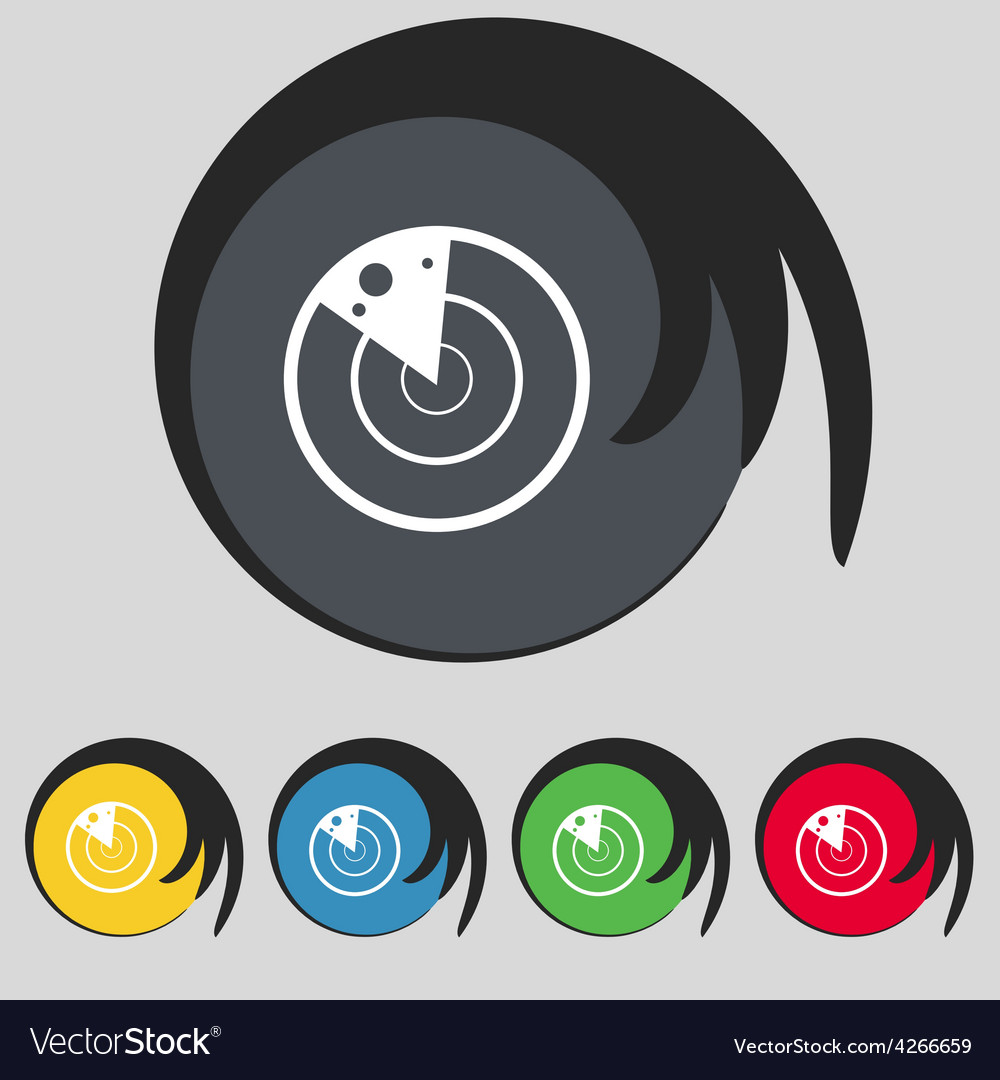 Radar icon sign symbol on five colored buttons vector | Price: 1 Credit (USD $1)
