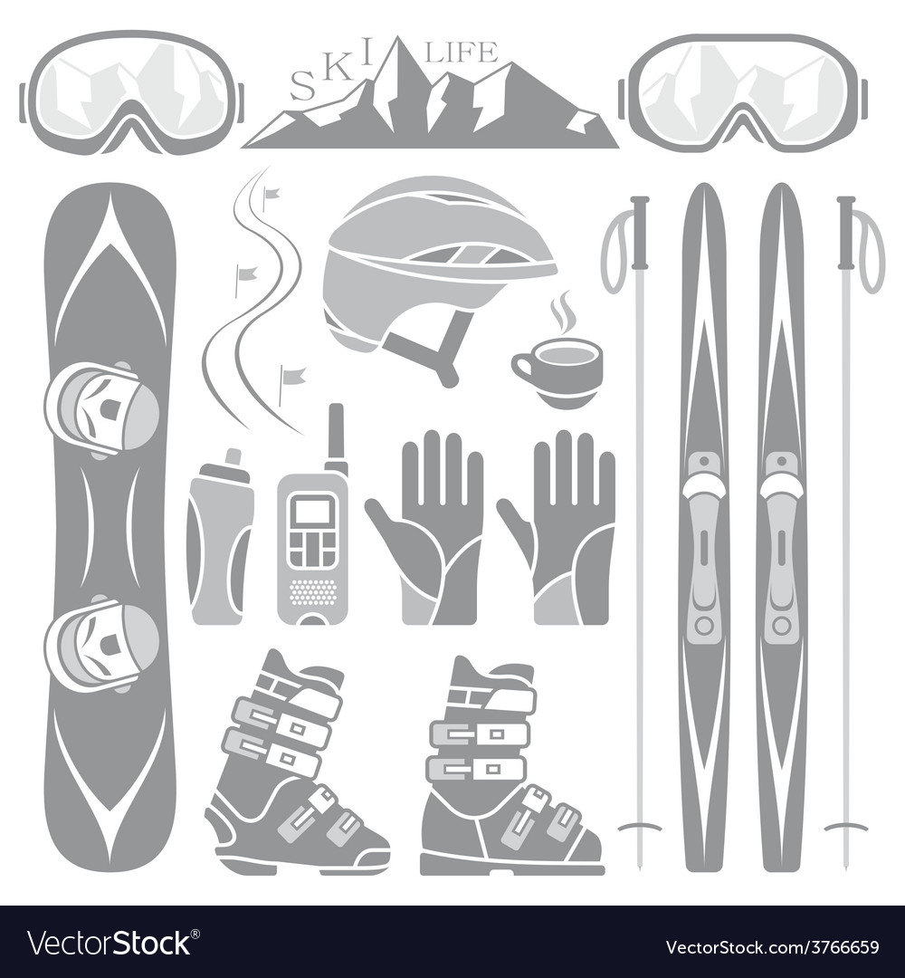 Set of skiing and snowboarding vector | Price: 1 Credit (USD $1)