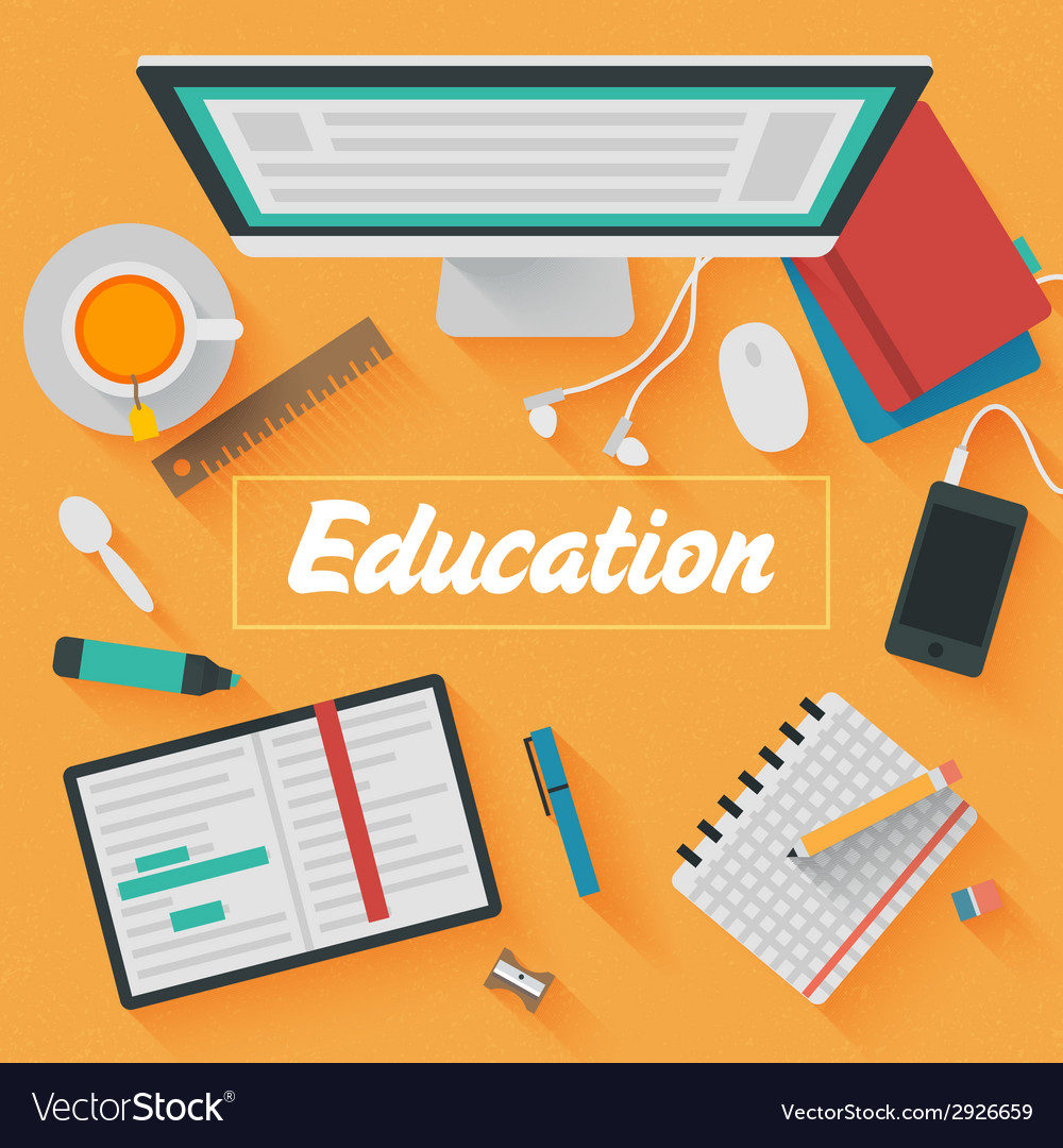 Trendy flat design education vector | Price: 1 Credit (USD $1)