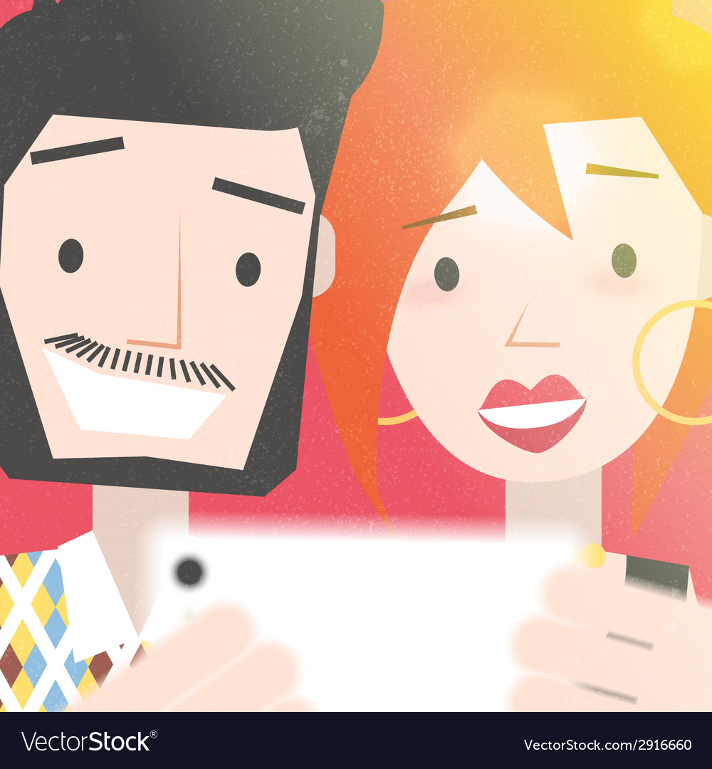 Dating young couple taking a selfie photo vector | Price: 1 Credit (USD $1)