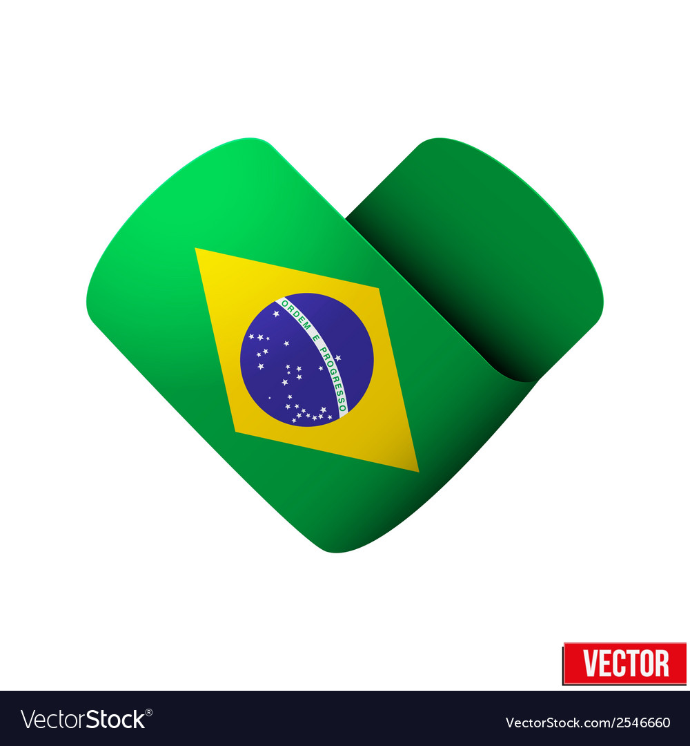 Flag icon in the form of heart i love brazil vector | Price: 1 Credit (USD $1)