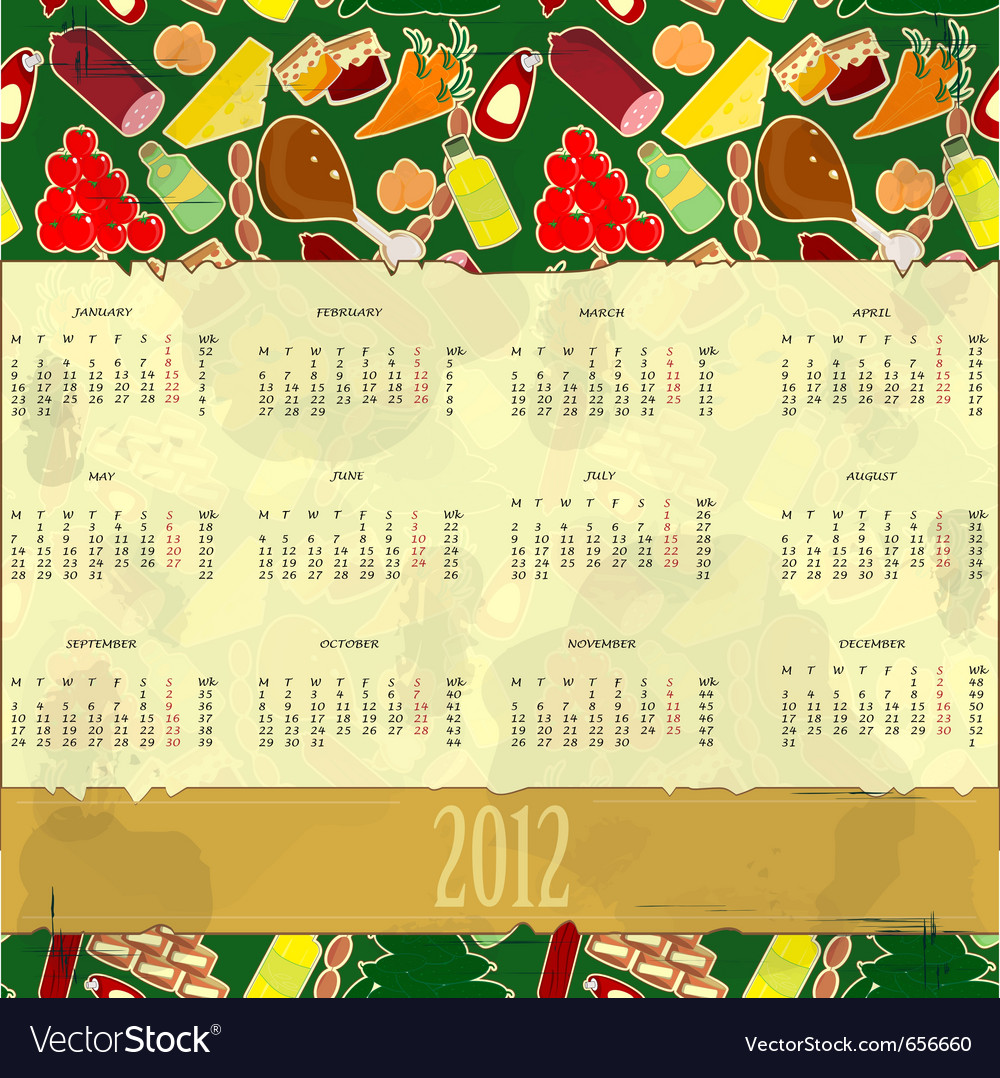 Food calendar vector | Price: 1 Credit (USD $1)