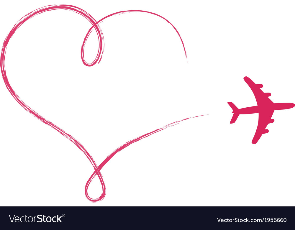 Heart shaped icon in air made by plane vector | Price: 1 Credit (USD $1)