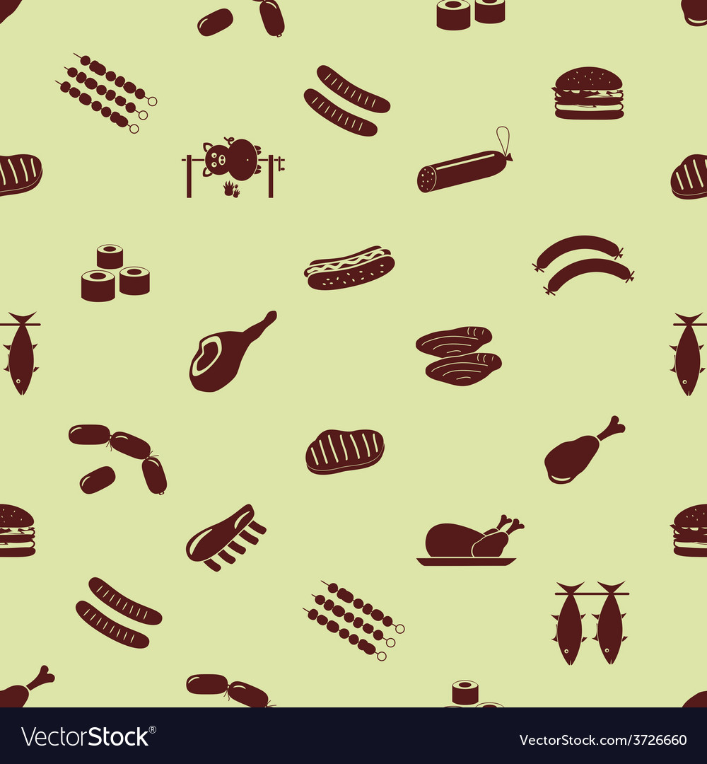 Meat food icons and symbols seamless pattern eps10 vector | Price: 1 Credit (USD $1)