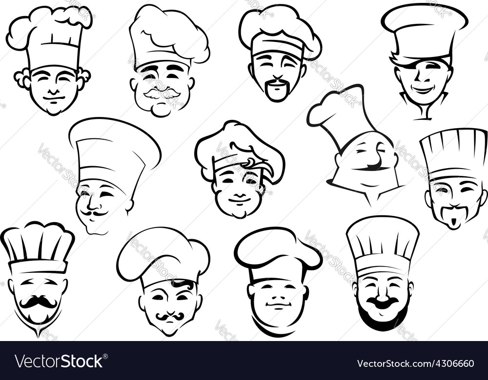 Multiethnic chefs in toques in sketch style vector | Price: 1 Credit (USD $1)