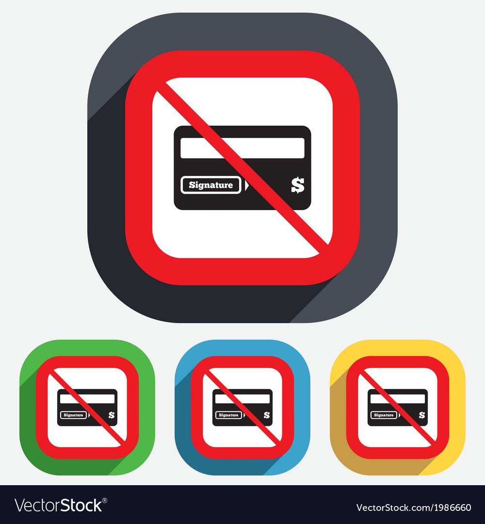 No credit card sign icon debit card symbol vector | Price: 1 Credit (USD $1)