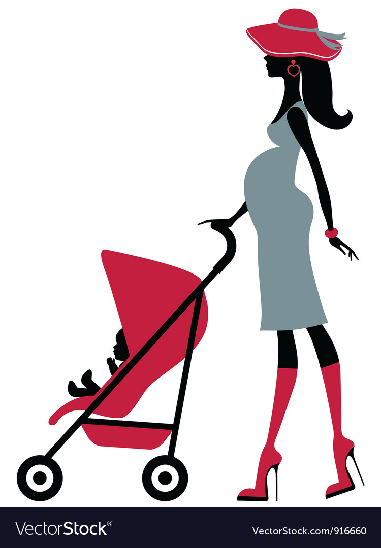 Pregnant woman with child in a stroller vector | Price: 1 Credit (USD $1)