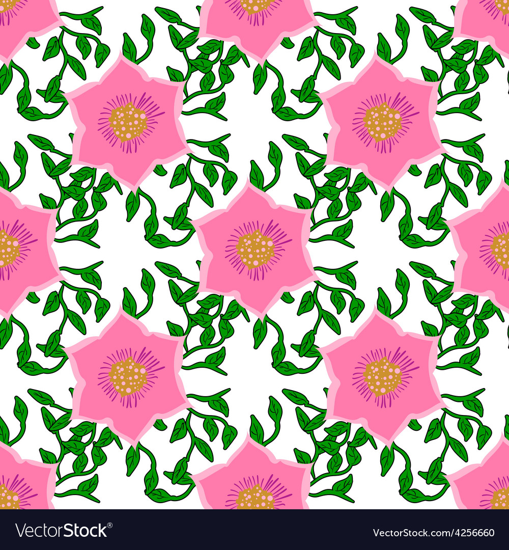 Seamless color pattern with flowers vector | Price: 1 Credit (USD $1)