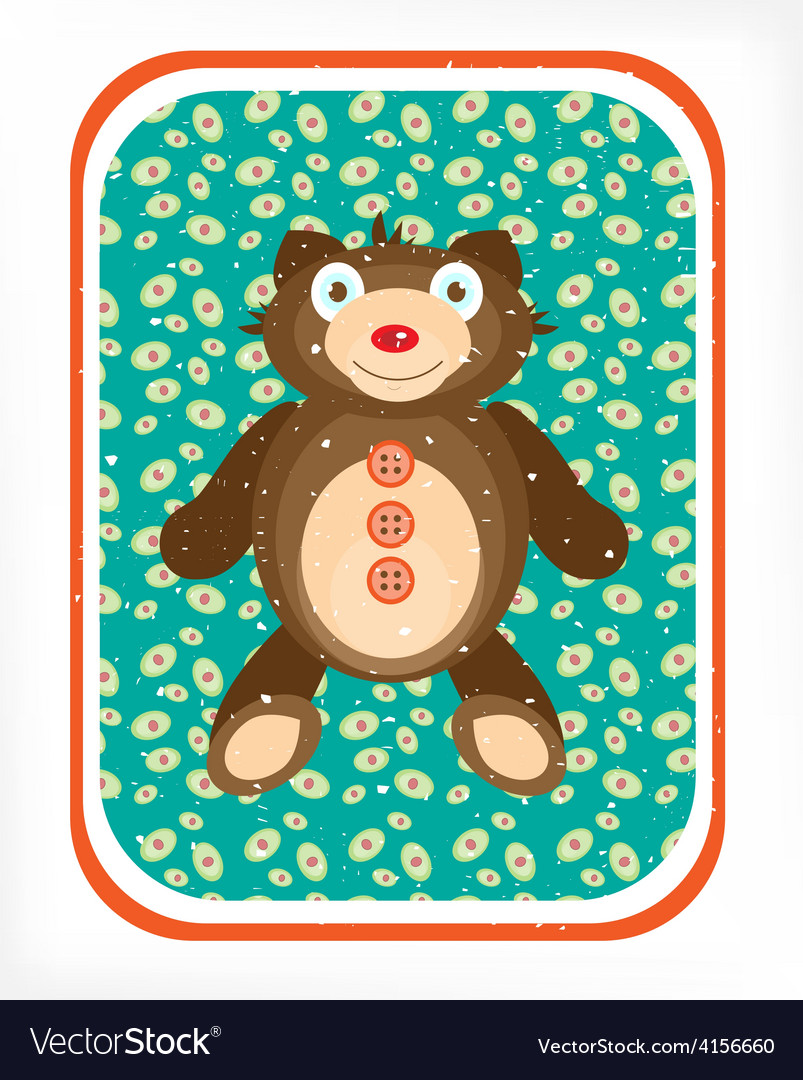 Teddy bear on a blue background vector   Price: 1 Credit (USD $1)