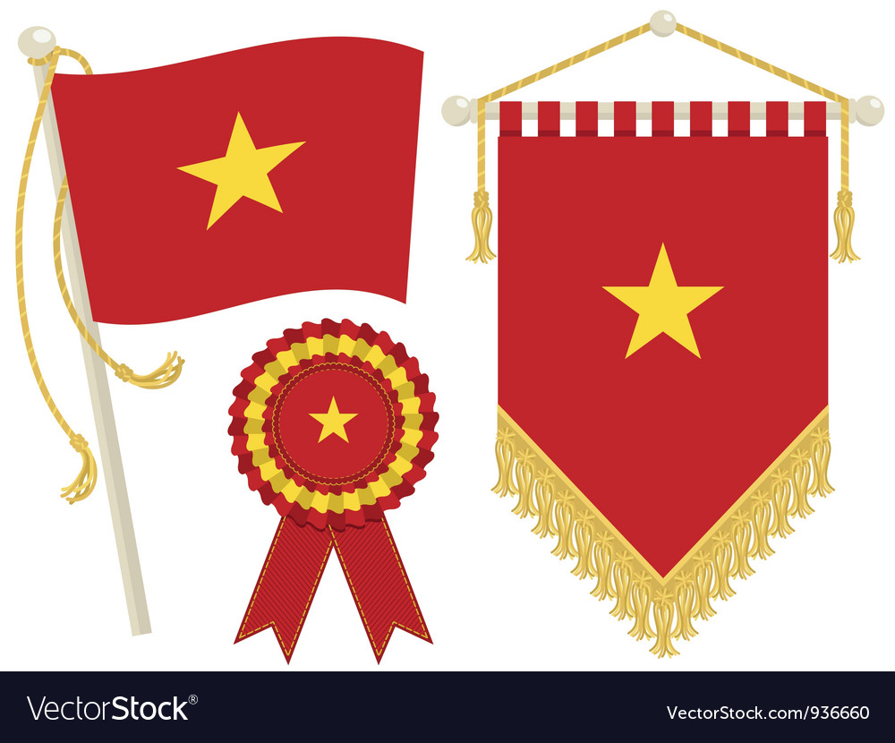 Vietnam flags vector | Price: 1 Credit (USD $1)