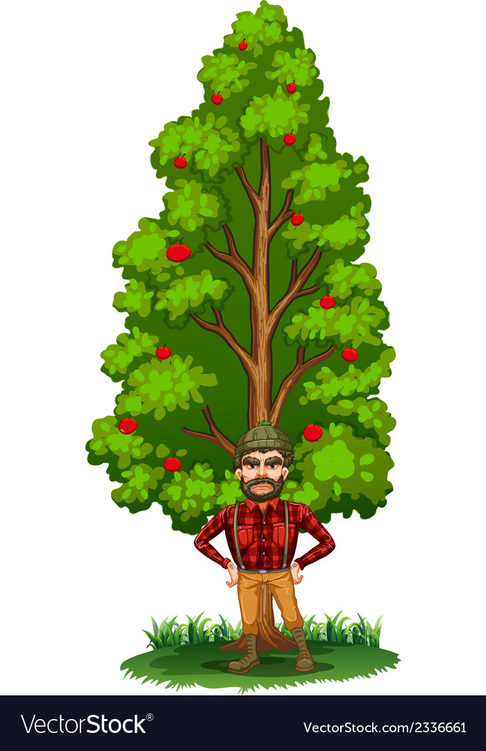 A lumberjack under the tree vector | Price: 1 Credit (USD $1)