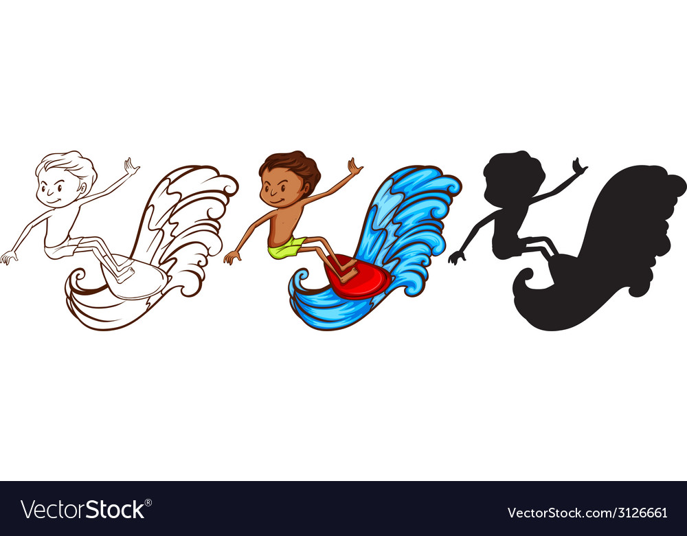 A sketch of a man surfing in three colours vector | Price: 1 Credit (USD $1)