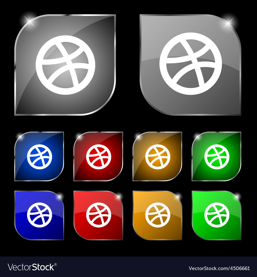 Basketball icon sign set of ten colorful buttons vector | Price: 1 Credit (USD $1)
