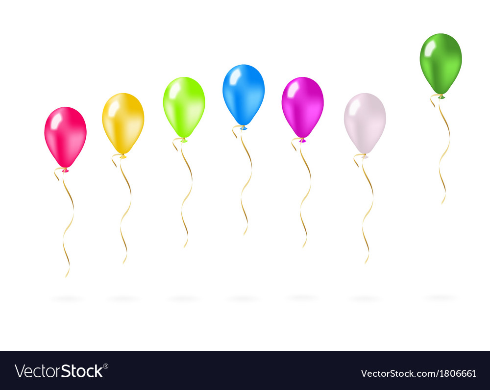 Colorful flying balloons in a row vector | Price: 1 Credit (USD $1)